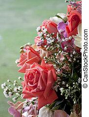 rose kwam op, op, achtergrond., afsluiten, bloemen, bos