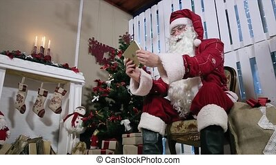 roteren, kamer, tablet, boompje, kerstman, digitale , openhaard, kerstmis