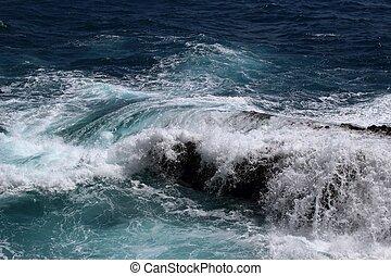 rots, verbreking, middellandse zee, golf