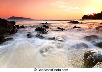 rots, zee, sunset., composition., natuur