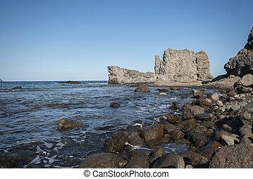 rotsen, mooi, sea., landscape, middellandse zee, spanje