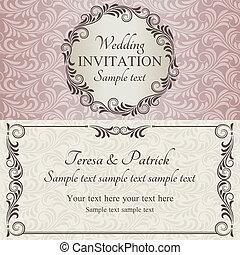 roze, bruine , uitnodiging, beige, trouwfeest, barok