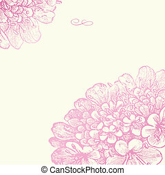 roze, floral, frame, vector, plein