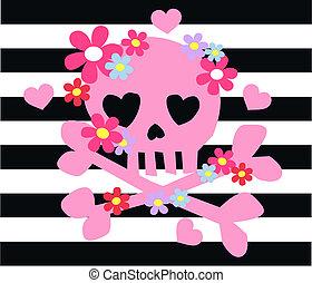 roze, gebeente, bloemen, wrikken