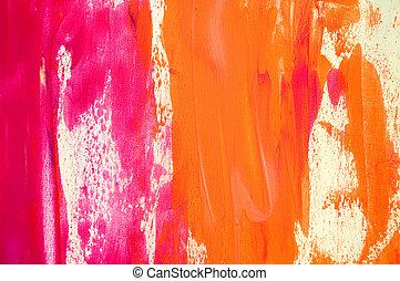 roze, geverfde, abstract, achtergrond, sinaasappel