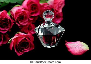 roze, glas, rozen, fles, parfum