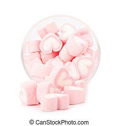 roze, hart, heemst, zoet, achtergrond, witte