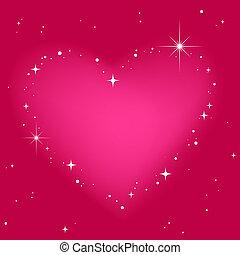 roze, hart, hemel, ster
