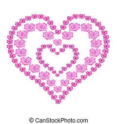 roze, hart, illustratie, rozen, achtergrond, witte
