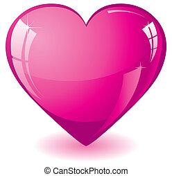 roze, hart, schitteren