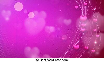 roze, hartjes, lijnen, romantische, lus