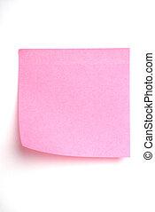 roze, informatietechnologie, vrijstaand, aantekening, post, witte