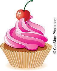 roze, kers, vector, cupcake