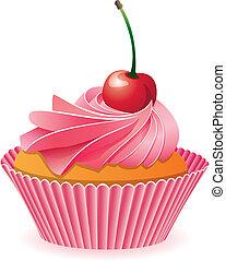 roze, kers, vector, rood, cupcake