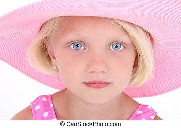 roze, meisje, hoedje, kind