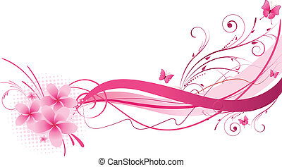 roze, ontwerp, plumeria, florals