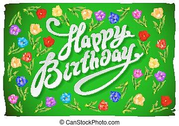 roze, peonies, bloem, tekst, moderne, watercolor, achtergrond., jarig, kalligrafie, geborstelde, vrolijke