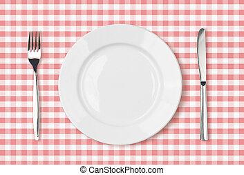 roze, schaaltje, picknick, bovenzijde, doek, diner tafel, lege, aanzicht