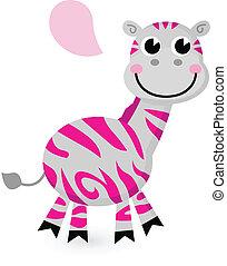roze, schattig, witte , vrijstaand, zebra