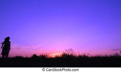 roze, silhouette, dancing, jonge, ondergaande zon , meisje