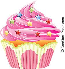 roze, vector, bestrooit, cupcake