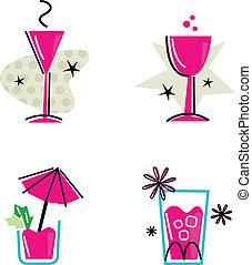 roze, vrijstaand, verzameling, retro, witte , dranken