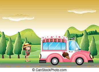 roze, weinig; niet zo(veel), bus, ijs, meisje, room