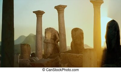 ruïnes, oud, tempel, romein, ondergaande zon