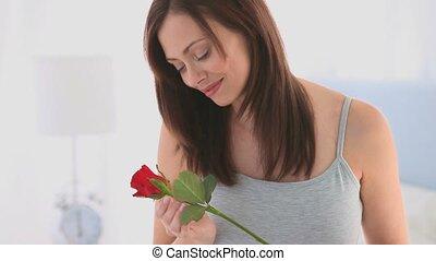 ruiken, vrouw, haar, roos