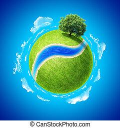 ruimte, akker, groene, fris, rivier, lege