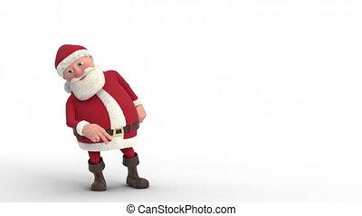 ruimte, claus, -, loopable, animatie, dancing, kerstman, kopie, spotprent, 3d