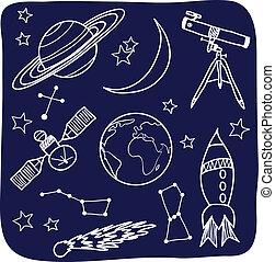 ruimte, hemel, -, voorwerpen, nacht, astronomie