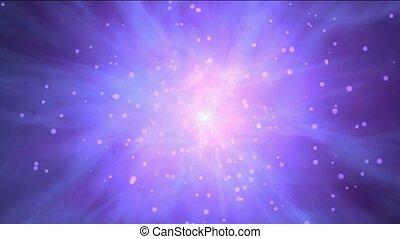 ruimte, laser, vliegen, &, stralen, nebula