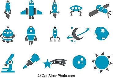 ruimte, set, pictogram