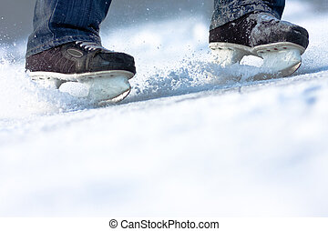 ruimte, verbreking, ijs, overvloed, skates, kopie