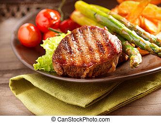 rundvlees, groentes, grilled, biefstuk, vlees