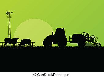 rundvlees, velden, vee, illustratie, vector, tractor, achtergrond, bebouwd, land, landbouw, landscape