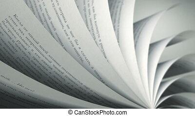 russische , (loop), boek, draaien, pagina's