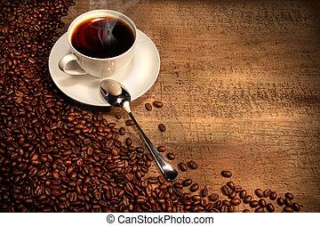 rustiek, bonen, kop, tafel, koffie, witte