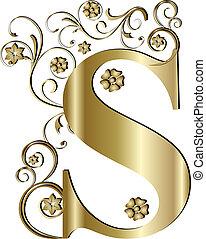 s, brief, goud, hoofdstad