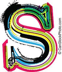 s, grunge, kleurrijke, brief