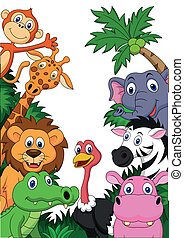 safari, dier, achtergrond, spotprent