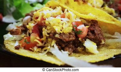salsa, zacht, vlees salade, taco