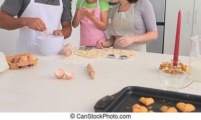 samen, bakken, gezin