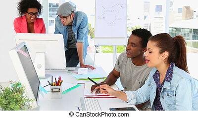 samen, creatief, partners, werkende