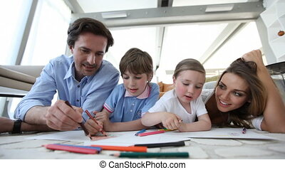 samen, gezin, het glimlachen, tekening