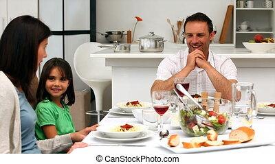 samen, gezin, schattig, dinning