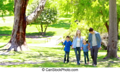 samen lopend, gezin