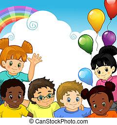 samen, regenboog, kinderen