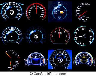 samengestelde afbeelding, dozijn, speedometers, mileages